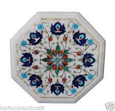 """12"""" White Marble Coffee Table Top Lapis Stone Floral Art Inlay Work Decor H362"""