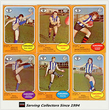 RARE-Scanlens VFL Trading Card 1973 B Full Team Set North Mel. (6)--EXCELLENT