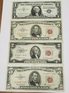 Old Currency 1953 $2.00 (2) 1963 $5.00 RED SEAL & 1957 $1 Silver Certificate
