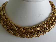 Vintage C.1974 Napier Chunky Ornate Long Wide Gold Plate Chain Necklace