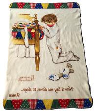 Norman Rockwell Boys Town Fleece Throw Blanket Now I Lay Me Down To Sleep Prayer