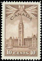Mint H Canada 10c 1942 VF Scott #257 Parliament Buildings War Issue Stamp