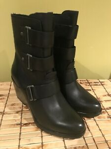 Sorel AFTER HOURS Wedge Booties. Eur 40, US size 9  - Black Leather Moto Boot
