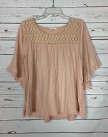 Easel Anthropologie Women's S Small Blush Pink Lace 3/4 Sleeves Spring Top Shirt