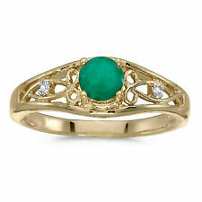 10k Yellow Gold Round Emerald and Diamond Ring