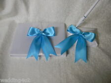 Wedding Party Ceremony ~Turquoise~  Satin Guest Book & Pen Base  Set