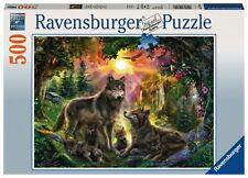 500 Teile Ravensburger Puzzle Wolfsfamilie im Sonnensche 14745