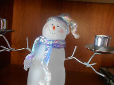 Snowman Taper Candles Holder, Holds 2 Candles.  Kohls.  EUC