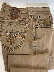 Rock Revival Mens Jeans SEBASTIAN STRAIGHT (Color Army)Size 32x26 Cotton Blend