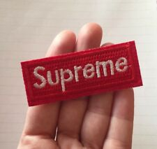 "SUPREME Red Logo Embroidered Patch Iron On Medium Skateboard 3"" X 1.25 White"