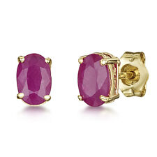 9ct Gold Earrings Oval Claw Set Ruby Stud 6x4mm