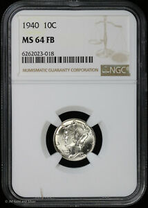 1940 10c Silver Mercury Dime NGC MS 64 FB | Uncirculated BU Full Bands