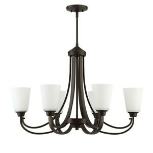 Craftmade Grace 6 Light Linear Chandelier, Espresso w/White Frosted - 41976-ESP