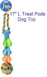 "JW Pet Company Wing-A-Treat Pod Play Dog Toy 16"" L Rope Ball NEW"