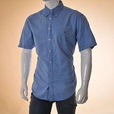 Gant Camicia a maniche corte Uomo Taglia XL BLU 100% cotone casual ORIGINALE