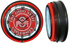 "Ohio State Buckeyes 19"" Red Neon Clock Carbon Fiber Mancave Bar Garage Football"