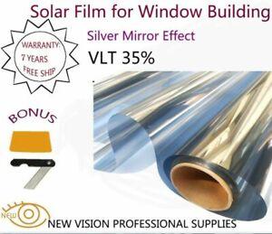 Tint Film Solar Silver Mirror Effect for Window Building IR VLT 35% 50cmX3m