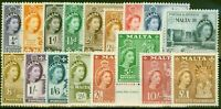 Malta 1956-58 set of 17 SG266-282 V.F Very Lightly Mtd Mint