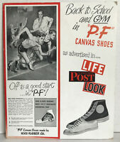 VINTAGE 1960's? P-F Canvas SNEAKERS Tennis Shoes STORE DISPLAY AD CARD flyers