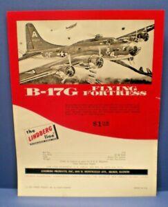 """LINDBERG 1966 """" B-17G Flying Fortress """" single sided dealer sales flyer L@@K!"""