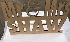mr and mrs plaque with stand 300 x 200mm laser cut mdf