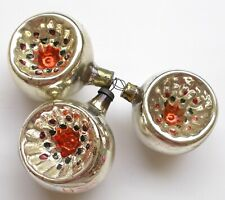 3 Old Vintage Antique Russian Silver Glass USSR Christmas Xmas Ornaments Lantern