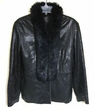 Wilsons Leather Car Coat Black Jacket Luxe Fur Soft Button Front Women Small