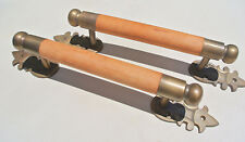 """pair DOOR handle pull solid brass ends wooden old vintage asian style 13"""" raw B"""