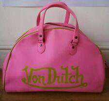 Von Dutch Gym BAG holdall faux leather vintage retro pink zipper double handles
