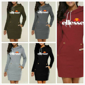 Ellesse Women spring printing Hooded Sweatshirt Tops Hoodies Pullover Dress UK