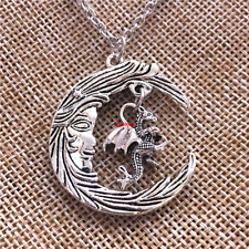 Dragon Necklace Moon Necklace Pagan Jewelry Fantasy Jewelry Moon Jewelry Silver