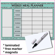 A4 Laminated Weekly Meal Planner Wipe Clean Menu Shopping List Emerald
