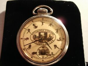 1940 Westclox Pocket Watch Pittsburgh Steelers Theme Dial & Case Runs.