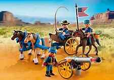 Playmobil Western 5249 UNION Horse-drawn Carriage Cavalry Rider & Cannon NEW