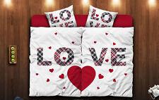 6 tlg Bettwäsche 135x200 I  80x80 Microfaser Bettgarnitur Herz Liebe Love *M 11A