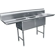 """2 Compartment Stainless Steel Sink 24""""x20"""" with Two 20"""" Drainboard Etl Sh20242D"""