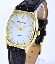 Philip Mercier Mens Regular or Ladies Large Strap Quartz Watch White Oblong Dial
