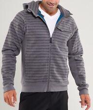 LULULEMON  ATHLETICA Gray Stripe COTTON DOMAIN HOODIE JACKET/ Coat size SMALL