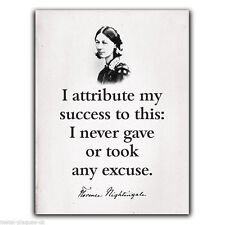 Florence Nightingale Quote I attribute my Success METAL SIGN WALL PLAQUE poster