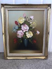 More details for vintage gold gilded framed still life canvas oil painting signed j palmer.