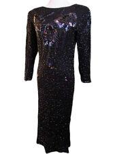 Womens Vtg Party Dress Sequin Black Cruise Pencil Evening Cocktail sz 10 T92