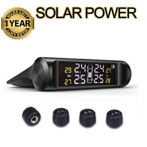 TPMS Car Tire Temp Pressure Monitor Solar Energy Charging w/Sensor Alarm System