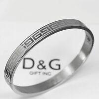 """DG 6.5"""" Stainless Steel Silver 6mm Design Bangle Open-Side Bracelet Unisex + Box"""
