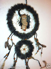 "Dream Catcher with Wolf + Indian Face + Feathers + Beads (~6"" across) Native Sle"