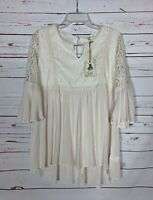 Easel Anthropologie Women's M Medium Ivory Lace 3/4 Sleeves Top Blouse NEW TAGS