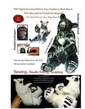 PDF artist PRINTABLE sewing craft  PATTERN lg jointed realistic teddy Black Bear