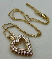 """VINTAGE 1.00CT DIAMOND 14K GOLD OVER HEART PENDANT WITH CHAIN NECKLACE 18"""""""