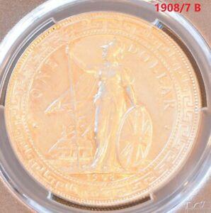 1908/7 B China Hong Kong UK Great Britain Silver Trade Dollar PCGS UNC Details