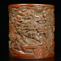 Exquisite carved old man under the pine trees play statue bamboo Pen Brush pot