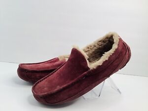 Men's UGG Ascot Suede Wool Lined Slippers, Cordovan, Burgundy Size US 8